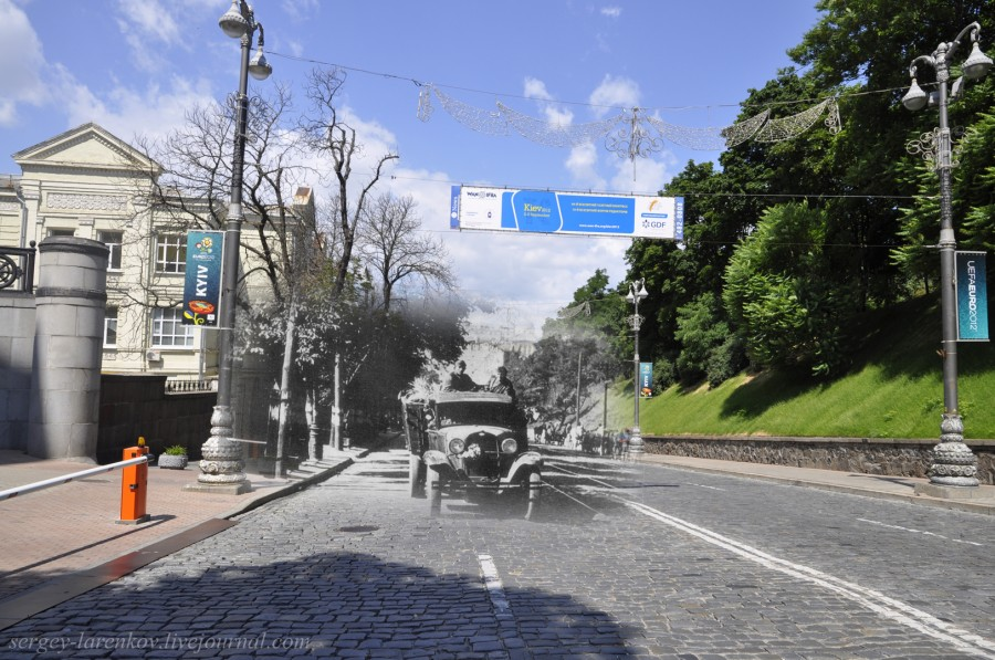Kyiv 1941/2012 German units moving along Kirova Street (now Mykhaila Hrushevskoho Street). Collage: Sergey Larenkov (Livejournal)