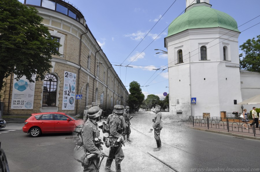 Kyiv 1941/2012. Ivan Kushchnik Tower and Arsenal. Collage: Sergey Larenkov (Livejournal)