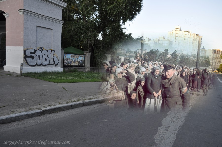 Kyiv 1941/2012. Zenit Stadium. Ukrainian collaborators near filtration camp for prisoners of war. Collage: Sergey Larenkov (Livejournal)