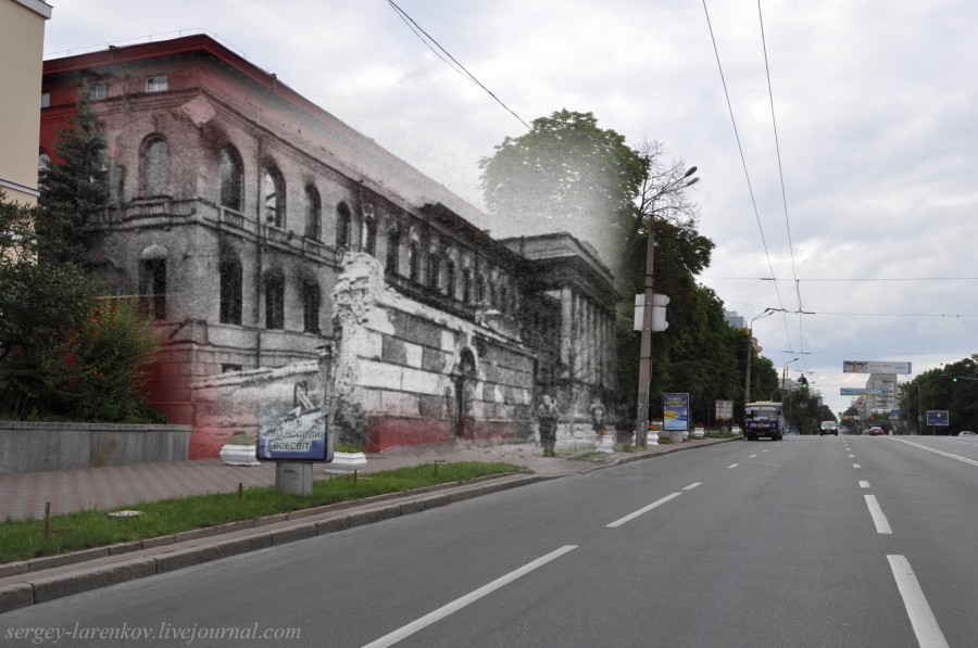 Kyiv 1943/2012. The Red building of the university. Collage: Sergey Larenkov (Livejournal)