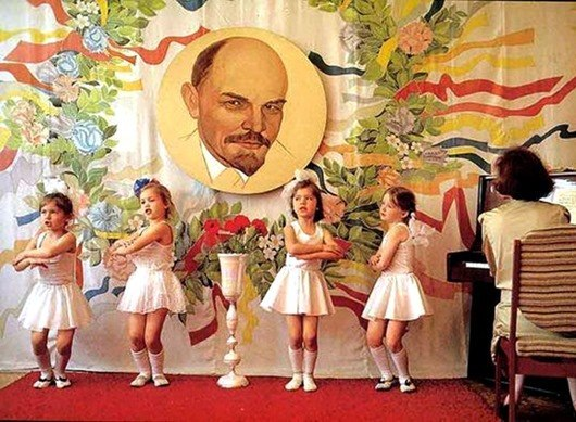 """A Soviet kindergarten. In the USSR, the paternalist figure of """"grandfather Lenin"""" was coming into your life at kindergarten and haunted you for the rest of your life. Photograph: mikhaelkatz.livejournal.com"""