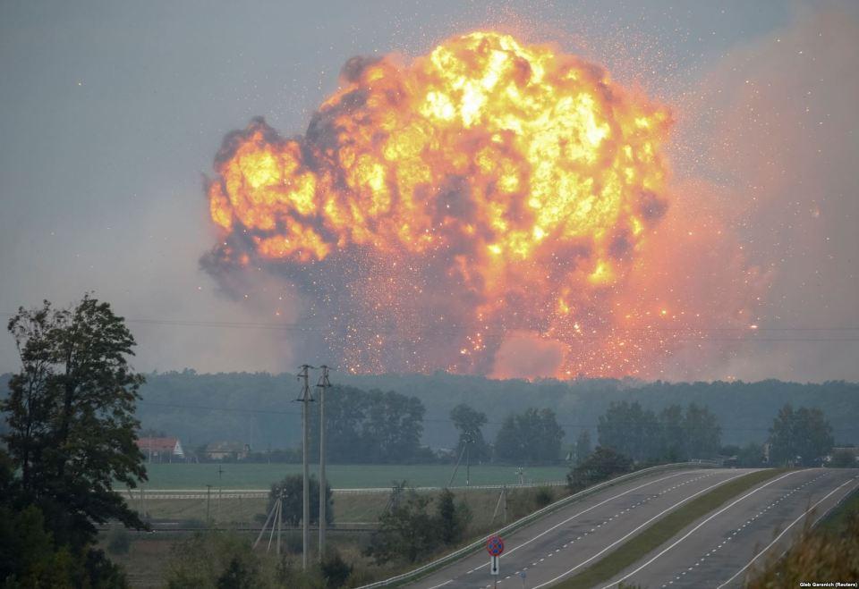 A fire at the Kalynivka Munitions Stockpile, Vinnytsia Oblast, 27 September 2017