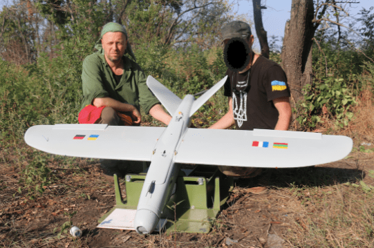 A drone Leleka 100, provided to UDA (Ukrainian Volunteer Army) in summer 2017. The drone was provided in cooperation with FUSA, a French volunteer organisation, similar to Blue/Yellow.