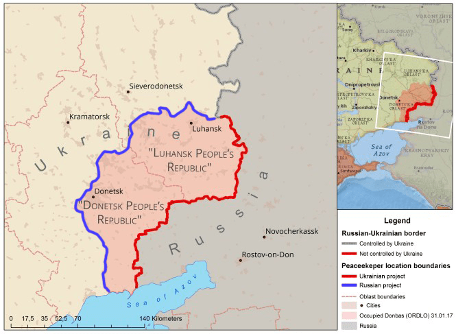 The occupied part of the Donbas region in Eastern Ukraine. Ukraine proposes to deploy UN peacekeepers throughout the entire territory, including the uncontrolled stretch of the state border (up to the red line), while Russia wants them deployed only along the Minsk-2 'line of contact' (the blue line on the map) to preserve the full Russian control of the region. Map: Euromaidan Press
