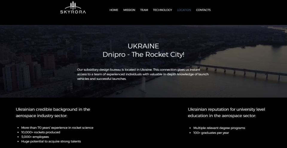 """Dnipro - The Rocket City!"" Screenshot: skyrora.com"