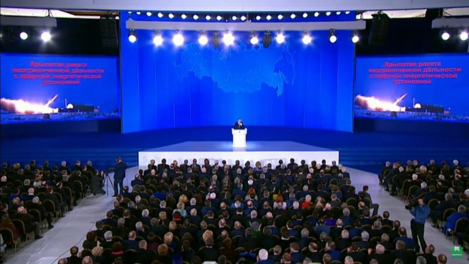 In his annual address to Russia's parliament on March 1, 2018, Vladimir Putin claimed that Russia developed a cruise missile with a nuclear-powered propulsion engine with an unlimited range. (Image: video capture)