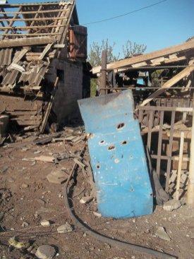 A household in Troitske, Luhansk Oblast damaged in a recent shelling. 4 May. Photograph: Twitter/aleksander21966