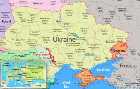 Occupied territories in Ukraine and near its western border. Map base: Google Maps, map: Euromaidan Press