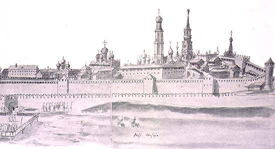 "XVII-century view of Moscow Kremlin from the West. (Source: ""Drawings of Muscovy from The Mayerberg Album."" In February 1661, the Holy Roman Emperor sent to Muscovy an embassy headed by Baron Augustin von Mayerberg and Horatio Gugliemo Clavuccio.  They arrived in Moscow May 25, 1661, and departed May 5, 1662.)"