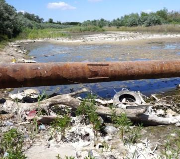 A part of the North Crimean Canal on the northern suburb of Armiansk on the occupied peninsula has become overgrown with reeds, shrubs and turned into a garbage dump. Photo: ru.krymr.com