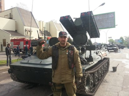 Oleksiy Vereschagin resident of Kharkiv near a Strela-10 air defense system in Luhansk at one of the Russian-hybrid forces 09 May parades.