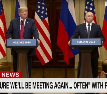 Putin-Trump press conference after their one-on-one private meeting in Helsinki, Finland on July 16, 2018 (Image: YouTube video capture)