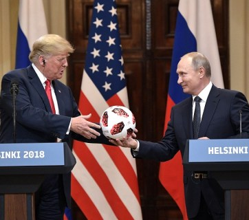 Putin gives Trump a soccer ball at press conference following their one-on-one (with translators only) meeting in Helsinki, Finland on July 16, 2018 (Image: kremlin.ru)