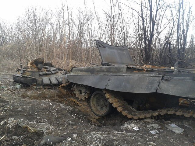 Remains of a Russian tank T-72 of the latest modification B3, which is possessed only by the Russian regular army, destroyed by Ukrainian artillery fire during a Russian attack near Debaltseve, Ukraine in March 2015. Image: censor.net.ua