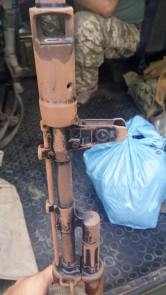 The AK-74 assault rifle rusted at one of Ukrainian checkpoints near the administrative border of occupied Crimea. Photograph: Facebook / Oleh Slobodyan