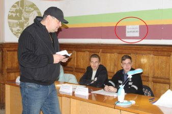 "The ""polling station #43"" in Horlivka, the paper reads, ""Photo/video prohibited."" Photo: Twitter/666_mancer"