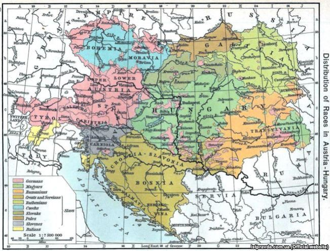 Ethnographic map of the Austro-Hungarian Empire from the American atlas of 1911. Ukrainians are designated as Ruthenians, the light-green part of the map