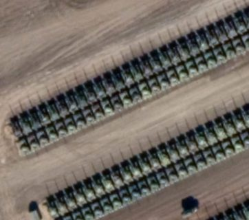 Hundreds of Russian tanks assembled 18km from the Ukrainian border as of early December 2018 (Image: Google Earth via defense-blog.com)
