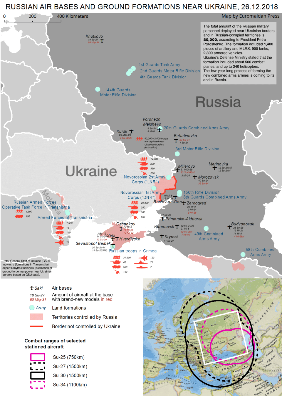 The infographic shows the data on the Russian military and paramilitary formations near the Ukrainian border and in the occupied territories. Here is an interactive map displaying the same data.