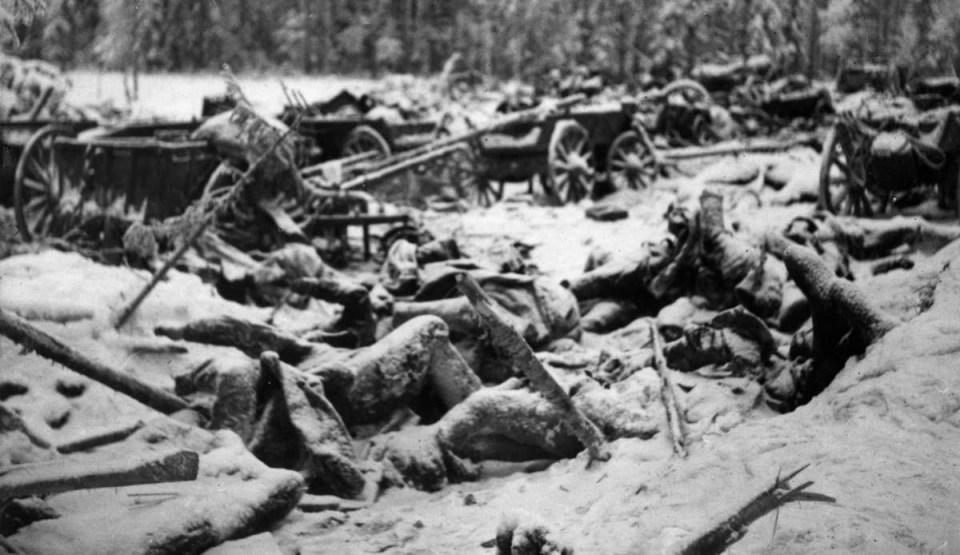 A defeated Soviet convoy near Suomussalmi, Finland. The Winter War, January-February 1940