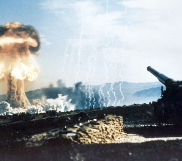 History's first test of a tactical nuclear weapon using artillery as a delivery mechanism was conducted by the United States in 1953. The Grable Event, a part of Operation Upshot-Knothole, was a 15-kiloton nuclear charge fired from a 280-mm artillery gun on May 25, 1953 at the Nevada Proving Grounds. (Photo: Wikimedia Commons)