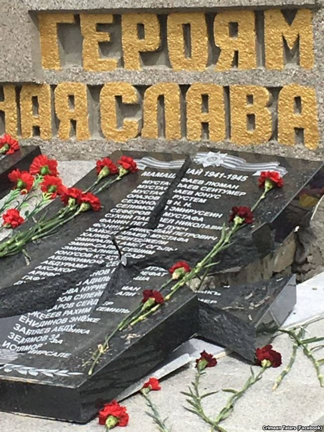 The World War II veteran memorial in the village of Mamashay (Orlovka) near Sevastopol in Russia-annexed Crimea with names of Crimean Tatar veterans destroyed only three days after its installation. Photo: Crimean Tatars (Facebook)
