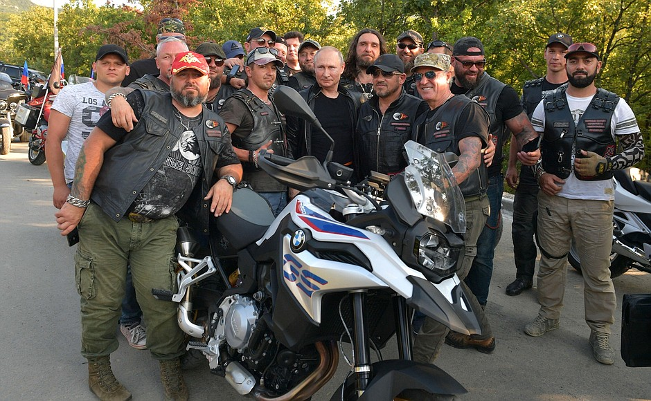 Vladimir Putin photographing with members of Moscow's Night Wolves biker club on their August 10, 2019 ride in Crimea, which Russia annexed from Ukraine in March 2014. Photo: kremlin.ru