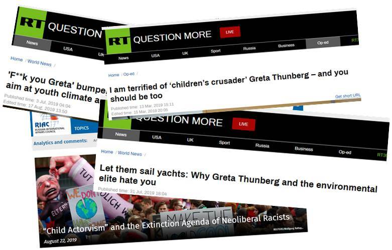 Kremlin outlet attacking Greta Thunberg,