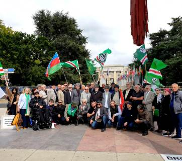 Chechen activists having completed their march from Strasbourg to Geneva to attract attention to the Chechen cause and seek justice and the rule of law for their nation in front of the United Nations Headquarters building in Geneva, Switzerland. September 6, 2019. Photo: thechechenpress.com