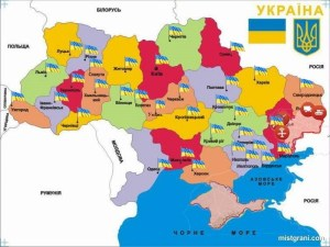 Ukrainian state flags mark locations of protests against capitulation under the Steinmeier formula on October 6, 2019. Note that there was a protest in all Ukrainian regions except Russia-occupied Crimea, but more protests were in the Donbas (closer to the front line). Image: facebook.com/ProtectUkraine