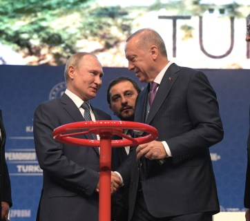 Ceremony to launch Turkish Stream gas pipeline on January 8, 2020 in Istanbul (L-R): Prime Minister of Bulgaria Boyko Borissov, Vladimir Putin, President of Turkey Recep Tayyip Erdogan and President of Serbia Aleksandar Vucic. (Photo: kremlin.ru)