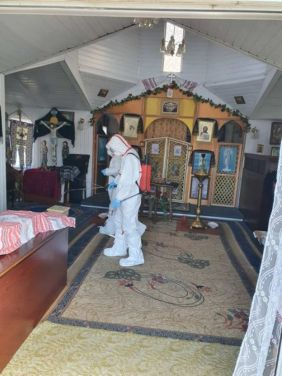 Workers of the State Emergency Service of Ukraine disinfecting the Church in Radomyshl, where a coronavirus-positive woman visited a service on 8 March.