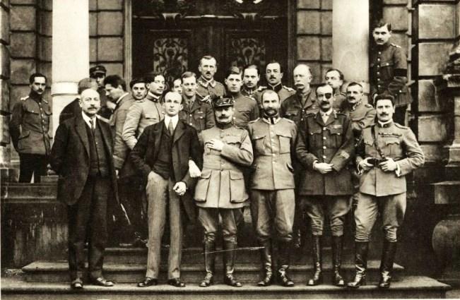 Inter-allied diplomatic mission to Poland in Lviv, February 1919. First row from the left: Stanisław Wańkowicz, Robert Howard Lord, General Joseph Barthélemy, General Tadeusz Rozwadowski, General Adrian Carton de Wiart and Major Giuseppe Stabile