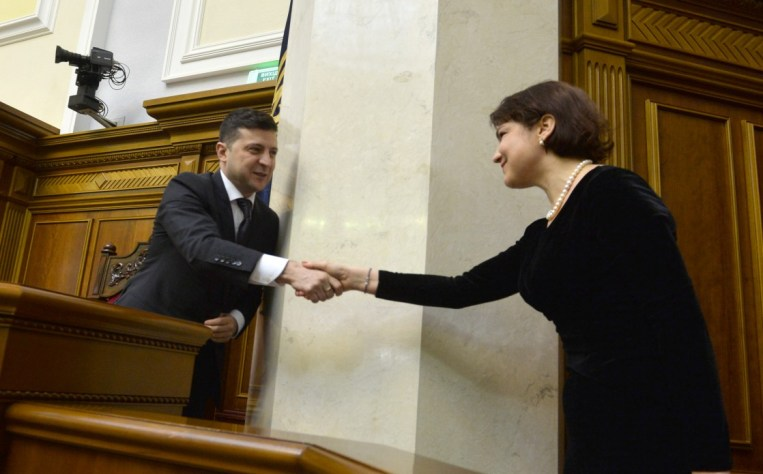 President Zelenskyy shakes hands with Iryna Venediktova, newly appointed Prosecutor General. Photo: president.gov.ua