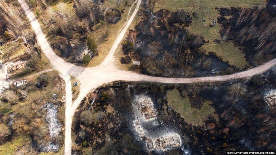 The territory of the completely burned down village of Magdin