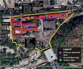 Izolyatsia, art center in Donetsk that was turned into a prison by Russian occupation forces back in 2014. The facility remains operating since then. Data:
