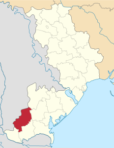 Bolhrad raion (in red), Odesa oblast (province), in southwestern Ukraine (Source: Wikimedia Commons)