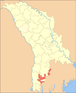 Map of Moldova with Taraclia district (red) (Source: Wikipedia)