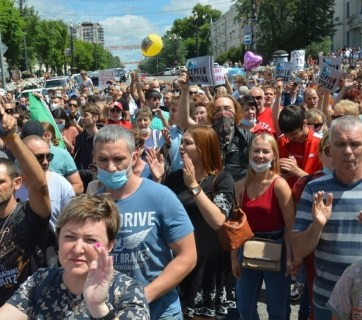 "Mass protests are rocking Russia's Far-Eastern region of Khabarovsk since 11 July. Little is known that a hundred years ago, the region was called ""Zelenyi Klyn"" (""Green"" Wedge""), and most of it was populated by Ukrainians, who dreamt of receiving the status of a Ukrainian colony. (Photo: dvnovosti.ru)"