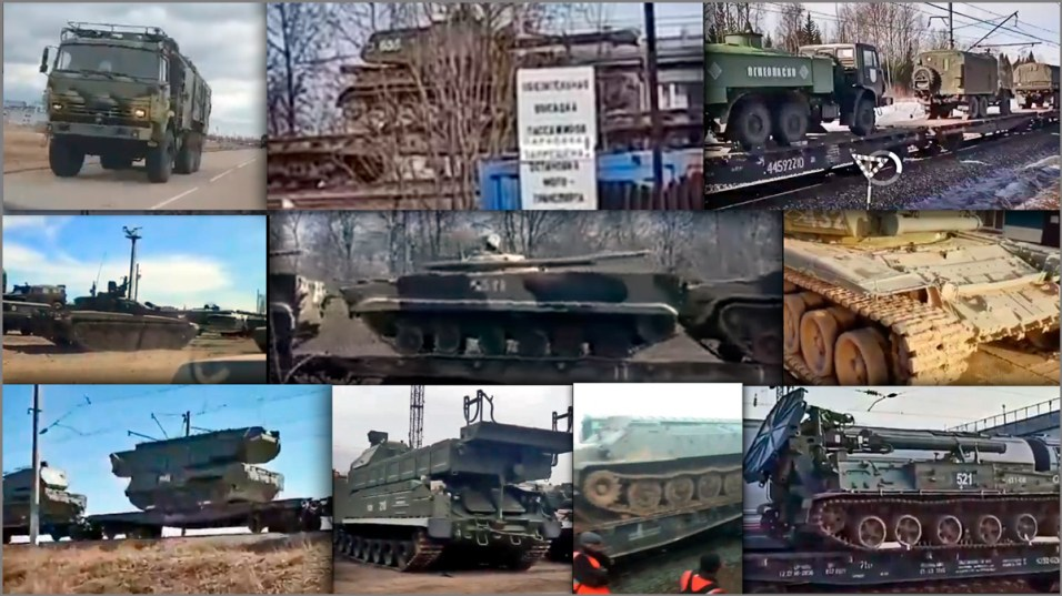Collage: Various pieces of Russian military equipment heading across Russia in convoys and trains towards the Ukrainian border as shown in the videos posted on social media by Russian users.