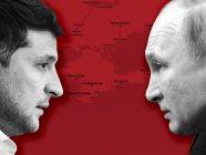 Volodymyr Zelenskyy and Vladimir Putin over the map of Crimea (Image: Tetiana Kolesnichenko, RFE/RL Graphics)