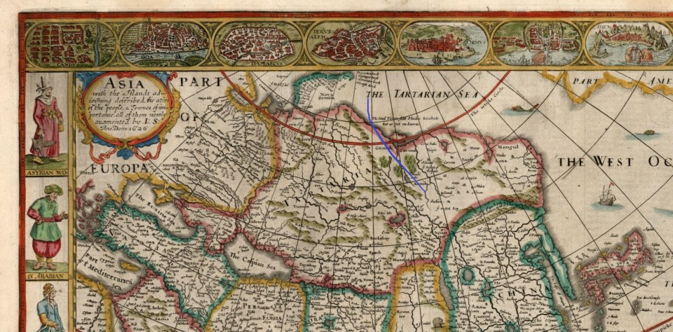 """An element of the 17th century map of Asia titled """"Map of Asia With The Islands Adjoining Described"""" published by John Speed in 1626 showing Tartaria (Tatary) and the Tartarian Sea (the Arctic Ocean)."""