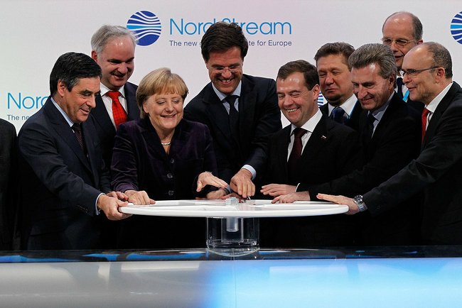 The ceremony of opening of Russia's Nord Stream 1 pipeline supplying gas to Germany on November 8, 2011, which was attended by Angela Merkel, the German Chancellor, and Dmitry Medvedev, then the President of Russia. Source: kremlin.ru