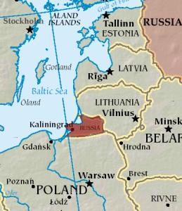 Location Map of Kaliningrad and the surrounding area (Source: CIA World Factbook via Wikimedia)