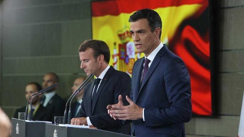 Pedro Sanchez, y el presidente de la Republica francesa, Emmaniel Macron