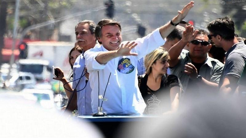 Jair Bolsonaro en un mitin