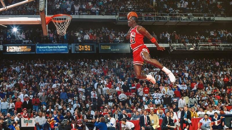 Michael Jordan en el concurso de mates de 1988.