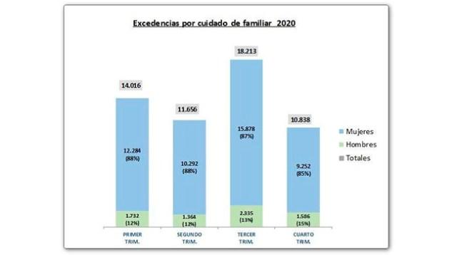Infografía excedencias por cuidado familiar 2020