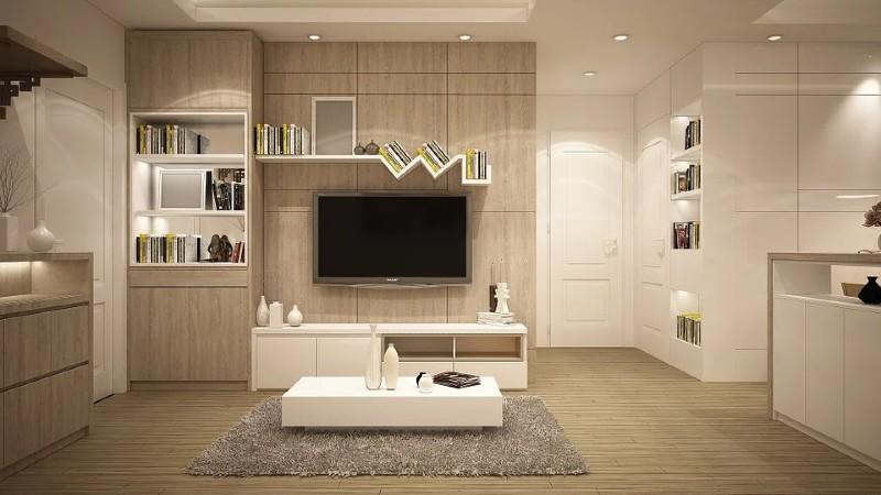 Salón con muebles a medida