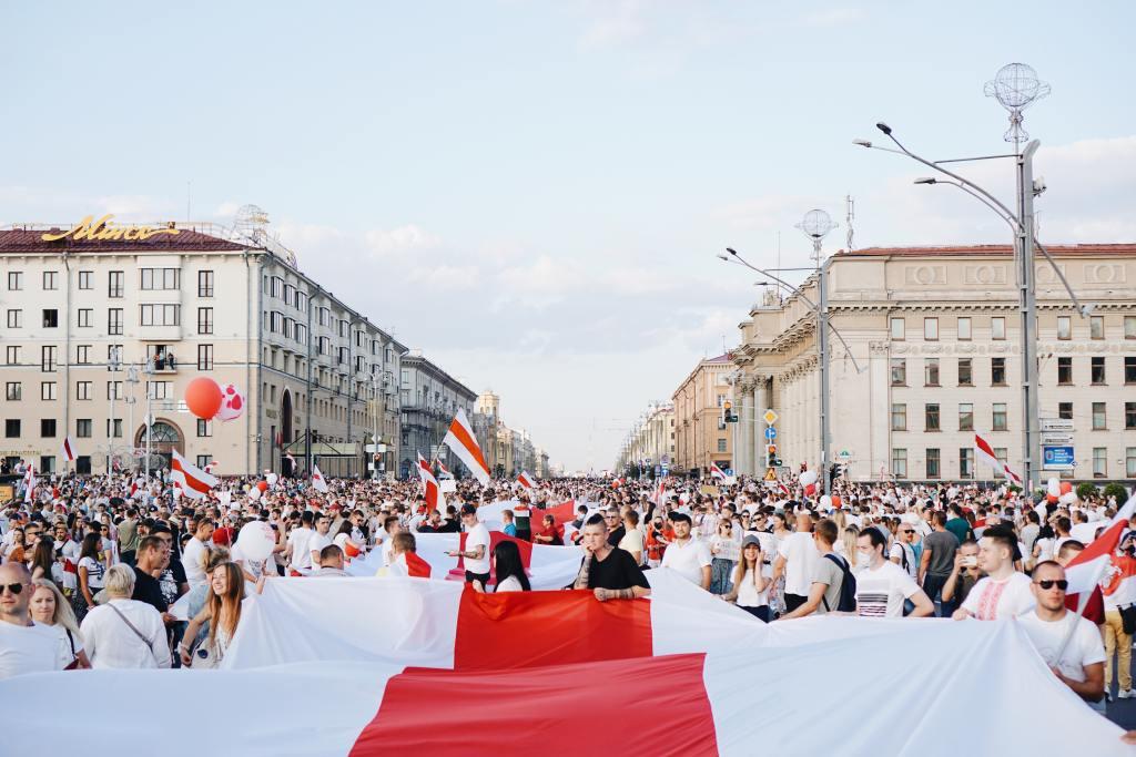 Politiska demonstrationer i Belarus. Bild.